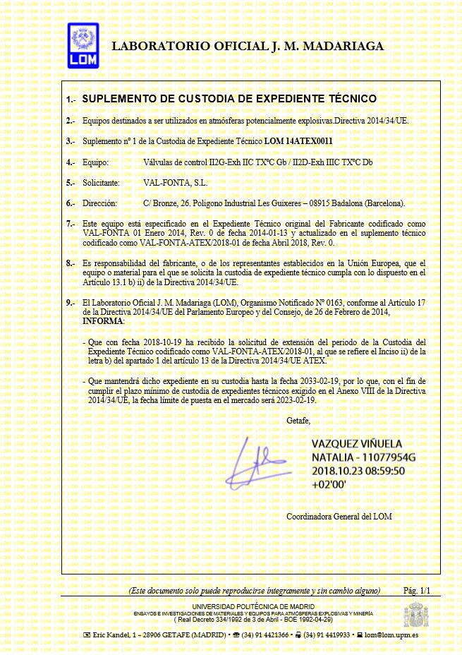 Captura certificat suplemento de custodia - Valfonta