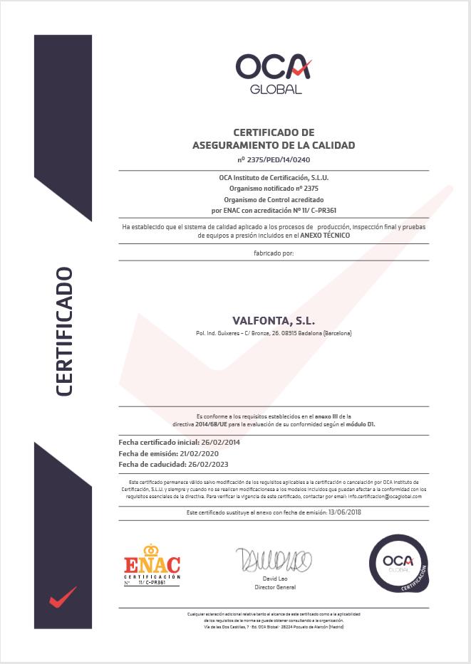 captura certificat 2014 - Valfonta
